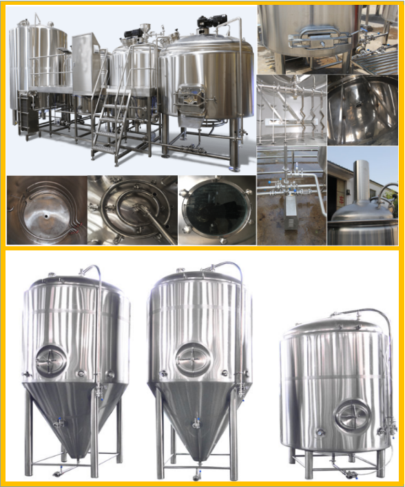 Sanitary SS304 5000L Large Scale Brewing Equipment With Mirror Polish And 50MM PU Insulation