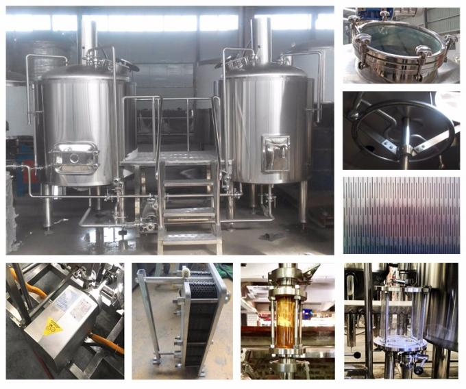 3 Vessel Small Commercial Brewing Equipment 1 Year Warranty ISO / CE Certification