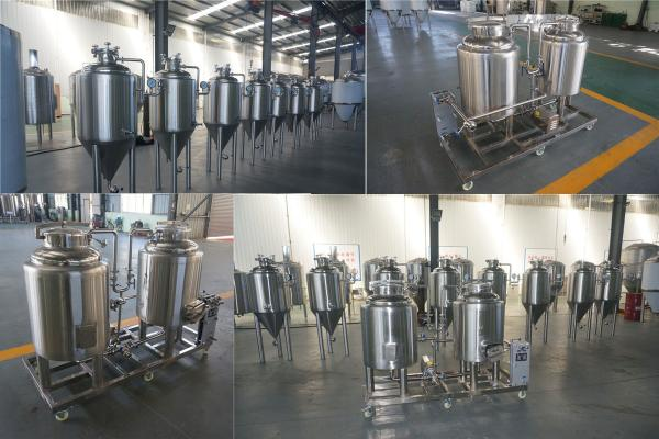 Steam Heating 100L Pilot Brewing Equipment With Glycol Cooling System ISO / CE