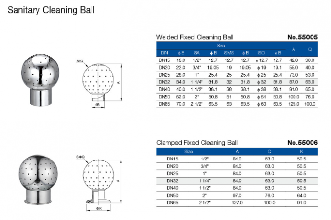 SS304 Brewing Accessories Clamped Rotary Spray Ball In Water Tanks CIP Cleaning Ball