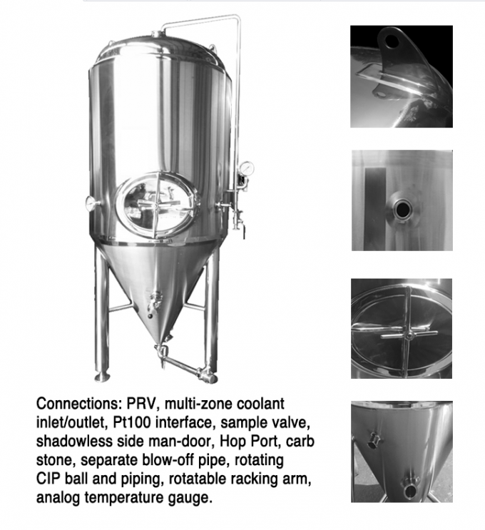 Stainless Steel Conical Fermentation Tank , Mirror Polish Beer Fermentation Tank