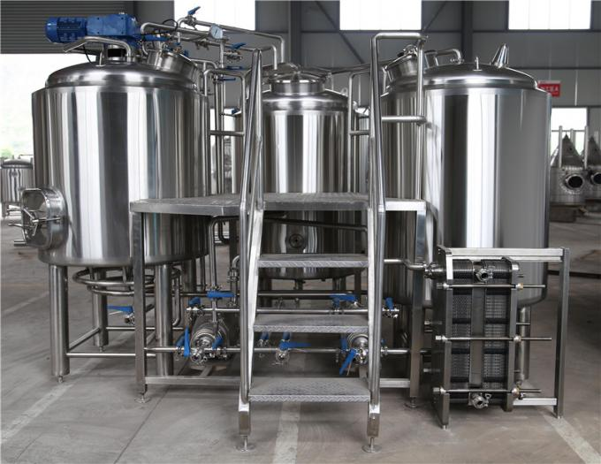 1000L 2000L Stainless Steel 304 Mirror Polish Three Vessel Brewhouse For Craft Beer Brewing Equipment