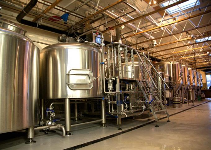 Industrial Brewing 3 Vessel Brewhouse 3mm For Interior Shell / 2mm For Exterior Shell