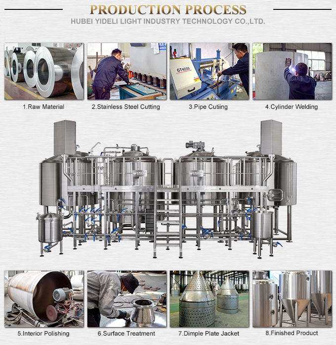 2000L 3 Vessel Brewhouse Fired Direct Heating Manual Beer Brewery Equipment